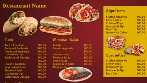 Fastidious Mexican Menu (Red)
