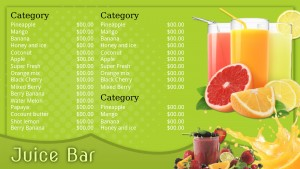 Fresh Juice Bar Menu